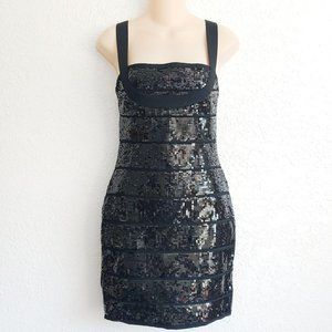 Herve Leger Katherine Bodycon Black Sequin Dress M